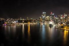 Sydney Harbour at Night (satochappy) Tags: city bridge light reflection night harbour sydney australia operahouse harbourbridge      nigihtscape