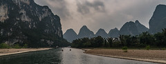 Li River Valley.jpg (Photos4Health) Tags: china old morning travel sunset shadow mountain man male guy nature water ecology silhouette sunrise river dark person li boat reflex clothing fisherman ancient scenery asia village place guilin yangshuo famous hill chinese scenic bamboo elderly fisher sail stick tradition guizhou karst villager guangxi ecotourism xingping
