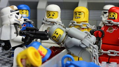 You will tell us the location of base LL6970 or he dies. (Brick Police) Tags: lego space classicspace legospaceman
