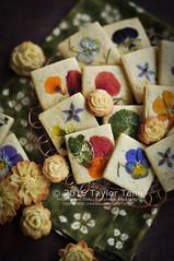 Edible Flower Cookies (TailorTang) Tags: stilllife food dessert 50mm cookie homemade borage homegrown nasturtium 5014 foodphotography violas edibleflower mouldedcookie