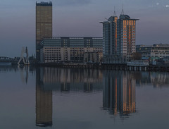 Treptowers_006 (pXelbre! by LTX) Tags: sunset sky reflection berlin water architecture river wasser sonnenuntergang himmel architektur twintowers fluss spree spiegelung treptow moleculeman osthafen treptowers mediaspree