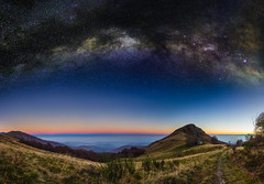 Pian delle Nere - Transition (mr.martino) Tags: sunset sky panorama nature stars landscape astrophotography milkyway