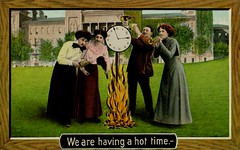 We Are Having a Hot Time (Alan Mays) Tags: wood old red hot men green yellow vintage buildings paper typography frames clothing women funny humorous comic bottles time antique flames humor drinking illustrations ephemera clothes burning drinks dresses alcohol heat postcards type 1910 amusing 1910s instruments fires fonts printed clocks borders woodgrain lawns wordplay puns typefaces musicalinstruments eismann thel theismann alcoholicbeverages hottimes hottime theochrom theodoreismann postcardpublishers theodoreismannltd theochromserie theochromseries punningillustrations