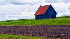 On The Green Mile (Alfred Grupstra Photography) Tags: house green lines clouds shed dike
