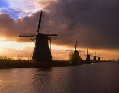 Kinderdijk (Vitaliy AK) Tags: netherlands windmill sunrise river landscape slide velvia linhof e6 kinderdijk rvp technika tetenal colortec