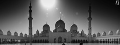 The Magnificent Courtyard, Sheikh Zayed Grand Mosque, Abu Dhabi (RJ-Clicks) Tags: bw sun sunlight silhouette architecture nikon day islam ngc uae courtyard mosque emirates abudhabi domes minarets islamicarchitecture d5100 nikond5100 rjclicks rehanjamil