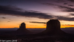 Sunrise, Monument Valley Navajo Tribal Park (IanLyons) Tags: travel arizona usa awesome scenic northamerica monumentvalleynavajotribalpark westmitten themittens merrickbutte eastmitten oljatomonumentvalley