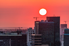 Red Tint (arkeldiary) Tags: city sunset sky colors canon buildings eos taiwan tainan 100d