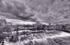 Weir in River Calder, Wakefield (robin denton) Tags: uk blackandwhite bw monochrome river landscape blackwhite yorkshire wakefield hdr urbanlandscape riverscape bwhdr rivercalder rnbcalder