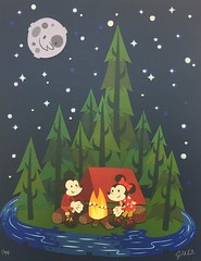 Two Happy Campers  Wonderground Gallery (Lennox / Sissel) Tags: camping trees moon cute art stars disneyland tent mickey campfire minnie anaheim downtowndisney wonderground