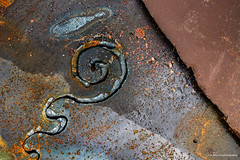 Swirl (Jae at Wits End) Tags: old blue abstract color texture lines metal rust pattern decay rustic shapes rusty pale line wear faded worn oxidation weathered swirl shape corrosion bleached faint textured patina corroded oxidized discolored