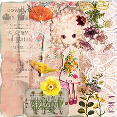 Spring Beauties (spunsugarsalon) Tags: flowers collage garden spring doll handmade lace dal overlay dollphotography dollfashion picmonkey vintagehankeydress