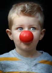 Little Bozo Clown (c_slavik) Tags: family boy red portrait love kids fun nose funny child clown son headshot bozo