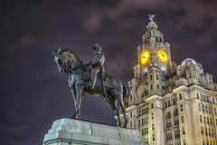 The Liver Buildings (Dancin K & H) Tags: sky horse tower clock statue architecture bronze night liverpool buildings nikon king slow edward liver cunard horseback vii merseyside d7100