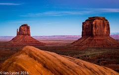 West Mitten & Merrick Butte, Monument Valley Navajo Tribal Park (IanLyons) Tags: travel sunset arizona usa sun twilight awesome scenic northamerica afterglow monumentvalleynavajotribalpark merrickbutte oljatomonumentvalley