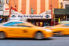 New York Sightseeing (mathiaswasik) Tags: street nyc usa newyork motion blur car yellow statue liberty us mine traffic unitedstates cab taxi transportation timessquare cabs