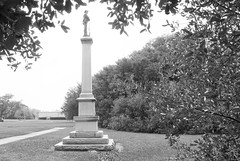 """Monument to """"Our Confederate Soldiers"""", Wiess Park, Beaumont, Texas 1604281407bw (Patrick Feller) Tags: park county heritage history monument memorial war texas jim keith confederate civil hate jefferson denial crow shame slavery weiss racism racist beaumont cause 1926 1916 relocated bigotry wiess revisionist"""