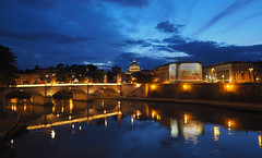 Roman Blues (explored) (Robert-Jan van Lotringen) Tags: travel bridge sky italy vatican rome roma reflection history tourism water architecture clouds buildings river lights evening italia ponte cupola tiber tevere bluehour rom saintpeter caputmundi pontevittorio