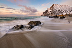 Vikten Beach (Mark McLeod 80) Tags: sunset seascape mountains water norway rocks arctic lofoten lofotenislands lee12nd lee075softgrad