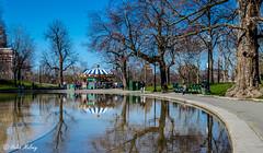 Boston 17Apr16 16 (Helen Mulvey) Tags: blue sky usa reflection sunshine boston bostoncommon bostonpublicgarden
