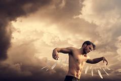 Icarus (Federico Sciuca) Tags: light sunset portrait orange man color art beautiful fly model emotion cloudy fineart fine surreal unusual concept icarus emotional conceptual emotive federico sciuca checkmy500px