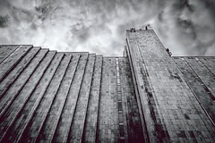 concrete jungle - Layers of Marriott (kareszzz) Tags: sky building art monochrome architecture clouds contrast marriott dark concrete hotel blackwhite spring hungary afternoon angle pov sony budapest dramatic stormy jungle photowalk april layers 1855 friday dramaticsky urbanphotography 2016 vroskpek nex3 sonynex3