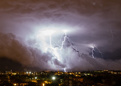 Howard & Lightning (ep_jhu) Tags: city storm night clouds canon dark noche dc washington nw nubes 7d tormenta bolts lightning hu howarduniversity