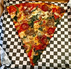 pizza from Tony's Slice House (Fuzzy Traveler) Tags: sanfrancisco food mushroom cheese crust pizza slice spinach greenpepper pepperoni tonysslicehouse