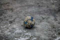 Final Whistle (riyardramnath) Tags: blue broken field leather sport ball outdoors football destruction soccer ripped ucl entertainment change damaged fitness ronaldo sportsman champions ending pigskin messi
