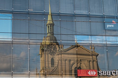 reflection (tinfrey) Tags: sky reflection building church june architecture clouds switzerland sbb bern mainstation ffs 2015 cff