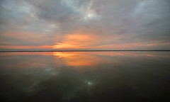 Reflected Sunset (cathbooton) Tags: sunset sky lake reflection water weather clouds path walkers westkirby merseyside