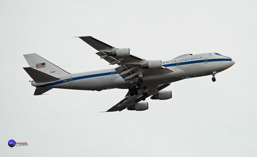 United States of America Boeing 747-200 called an E-4B flies over Redskins game.