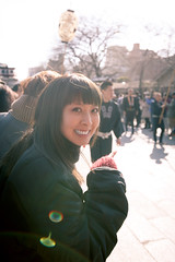 Watching Traditional Japanese Parade (Apricot Cafe) Tags: street winter people woman sunlight holiday girl smile japan walking tokyo outdoor traditional happiness parade daytime asakusa joyful japaneseculture setsubun traditionaljapan canonef1635mmf28liiusm setsubune img628628