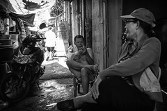 Rest Time (evi.herlyna) Tags: people bw man photo streetphotography vietnam chatting blacknwhite breaktime