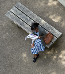 where to next (otgpics) Tags: from above park summer woman london tourism kew gardens bench dress royal gingham purse botanic handbag cardigan pamphlet