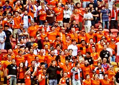 37/366 - A Sea Of Orange (Fiona Dawkins) Tags: orange brisbane roar fanatics suncorpstadium day37366 366the2016edition 3662016 6feb16