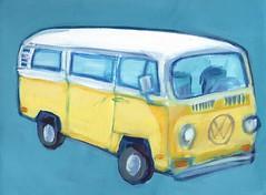 baywindow bus (EllenJo) Tags: arizona art yellow vw painting volkswagen artwork artshow van 9x12 acryliconcanvas 1972bus ellenjo ellenjoroberts baywindowbus forartshow oldtownframeshopapril2016