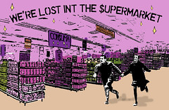 lost in the supermarket - com erro ortográfico :) (bing0ne) Tags: collage illustration couple digitalart running clash supermarket capitalism consumerism goddard theclash supermercado