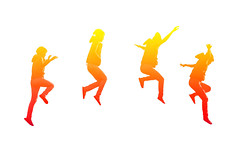 Steps of girl jumping (jack-sooksan) Tags: party music orange woman girl up yellow relax fun happy fly dance spring jump concert funny colorful arms legs action walk air run swing whitebackground step enjoy beat create concept hop pulse float joyful leap tempo handsup isolated bounce rhythm skylark glee caper flexible cavort scamper rollick gambol