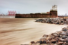Fort Perch Rock as Storm Gertrude hits (cathbooton) Tags: beach docks canon sand wind gales hdr wirral newbrighton merseyside seaforth fortperchrock stormgertrude