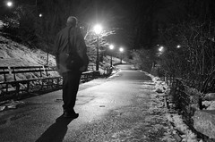 Keep walking! (Lojones13) Tags: park blackandwhite newyork night walking centralpark