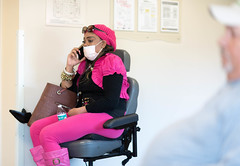 (nikkorsnapper) Tags: pink men women caps tights cellphones waterbottles leotards waitingrooms candidphotography facemasks stockingcaps sunglassesonhead richmondvirginiausa motorizedwheelchairs