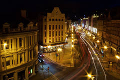 Belfast at Night (shylands) Tags: city ireland night cityscape belfast nightime northernireland artdeco hdr countyantrim lighttrail lightstream royalavenue