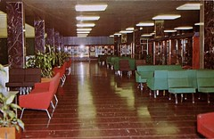 Upper Lobby, Gander International  Airport, Newfoundland (SwellMap) Tags: architecture plane vintage advertising design pc airport 60s fifties aviation postcard jet suburbia style kitsch retro nostalgia chrome americana 50s roadside googie populuxe sixties babyboomer consumer coldwar midcentury spaceage jetset jetage atomicage