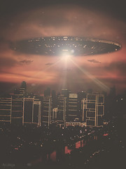Alien Invasion (ArtNinjaph) Tags: city fiction light art night composition photomanipulation photoshop buildings landscape photography photo scary ninja philippines alien dramatic manipulation aerial ufo adventure fantasy manila scifi sightings flyingsaucer cinematic invasion mothership gfx alieninvasion mandaluyong artninja artninjaph