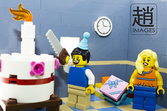 Birthday (mikechiu86) Tags: birthday cake happy candles lego presents cutting minifigures