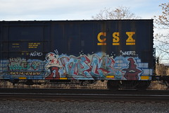 NECS (TheGraffitiHunters) Tags: street blue red brown white green art train graffiti colorful paint king wizard rip tracks style mickey spray boxcar freight npm necs benched benching