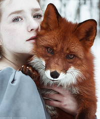 Wake me up (alexandra_bochkareva) Tags: red face female forest hair fur real fire hands russia head redhead fairy fox freckles feelings helios freckled