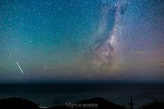 Nickel, anyone? (nightscapades) Tags: sky beach night stars coast bush au sydney australia astrophotography newsouthwales astronomy fireball meteor nightscapes milkyway garie royalnationalpark gariebeach galacticcore lilyvale