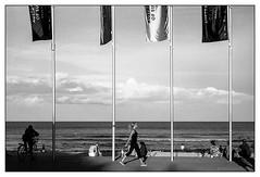 last days of summer  #533 (lynnb's snaps) Tags: ocean summer bw woman film bicycle manly sydney flags leicaiiic fomadonlqn 201603 cv35mmf28ltm